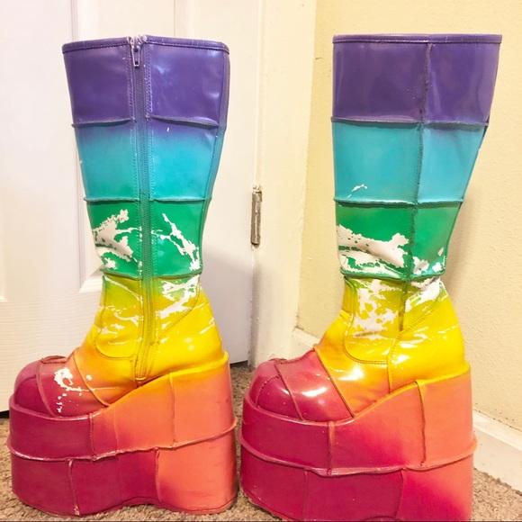 Rainbow Platform Boots Rave Festival
